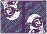 Обложка на паспорт с уголками, PST-345 Обезьяна-космонавт