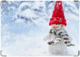 Обложка на паспорт с уголками, Новогодний снеговик
