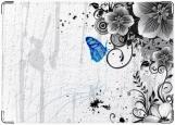 Обложка на паспорт с уголками, синяя бабочка