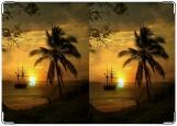 Обложка на паспорт с уголками, пальма закат