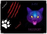 Обложка на паспорт с уголками, My passport/angry kitty