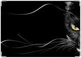 Обложка на паспорт с уголками, Черная кошка. Black cat