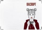 Обложка на паспорт с уголками, девушка 4