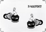 Обложка на паспорт с уголками, матрешка