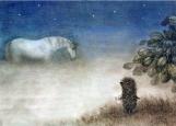 Обложка на автодокументы без уголков, ежик в тумане