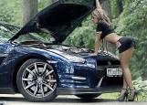 Обложка на автодокументы без уголков, Девушка с автомобилем