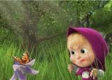Обложка на автодокументы без уголков, Маша и бабочка