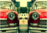 Обложка на автодокументы без уголков, Ретро в красном цвтете