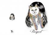 Обложка на паспорт без уголков, Alice&cat