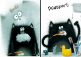 Обложка на паспорт без уголков, Черный кот
